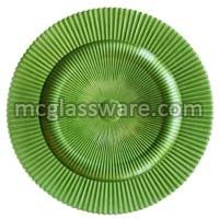 Sunray Green Glass Charger Plates