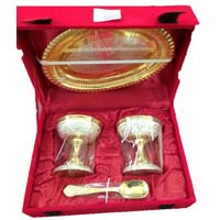 Silver & Golden Plated Ice- Cream Set