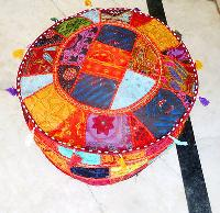 Handmade Cotton Round Patchwork Pouf Cover