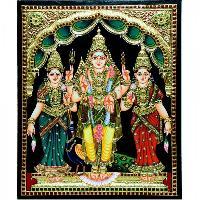 Murugan, Valli & Deivanai Tanjore Paintings