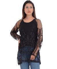 Estance Embroidered Transparent Net Black Top