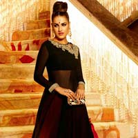 Fs2190 Georgette Embrodary Black Semi Stitched Anarkali Type Suit