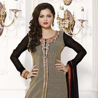 Fs1370 Georgette Embrodary Work  Gray&black  Semi Stitched Saitght Suit