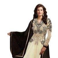Fs1350 Georgette Embrodary Work White Semi Stitched Anarkali Suit