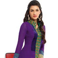 Fs1060 Georgette Embrodary Work Purple  Semi Stitched Staight Suit