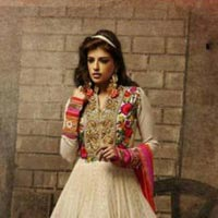 Georgette Embrodary Work White Semi Stitched Anarkali Type Suit