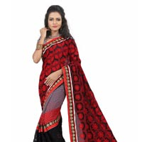 Fs1770 Rasal Braso Embrodary Work Red&black Saree