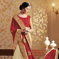 Ddesigner Embroidered Red & Cream Georgette & Net Party Wear Saree