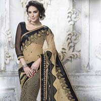 Designer Beige Embroidered Net &  Faux Crepe Jacquard Party Wear Saree