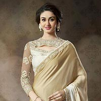 Embroidered Satin Net Party Wear Saree