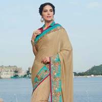 Designer Embroidered Beige Fancy Party Wear Saree