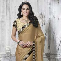 Designer Embroidered Beige Faux Satin Chiffon & Net Party Wear Saree