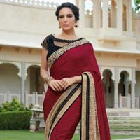Designer Embroidered Maroon & Cream Fancy Party Wear Saree