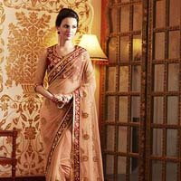 Designer Embroidered Orange Net Party Wear Saree