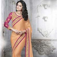 Designer Embroidered Pastel Orange Satin & Net Party Wear Saree