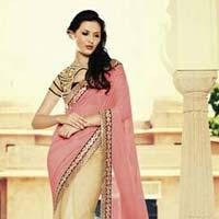 Designer Embroidered Pink & Cream Fancy Party Wear Saree