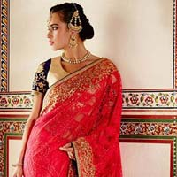 Designer Red Embroidered Net Party Wear Saree
