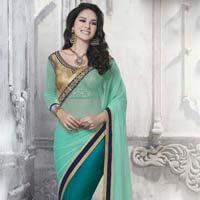Ethnic Designer Aqua & Teal Green Net & Art Silk Party Wear Saree