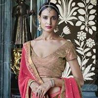 Ethnic Designer Embroidered Fuchsia Pink Georgette Bridal Lehenga