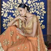 Ethnic Designer Embroidered Orange Net Bridal Lehenga