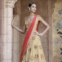 Ethnic Embroidered Pink Net Party Wear Lehenga
