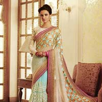 Ethnic Embroidered Blue & Cream Net & Georgette Party Wear Saree