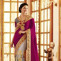 Ethnic Embroidered Pink & Grey Velvet & Net Party Wear Saree