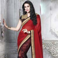 Ethnic Red & Black Embroidered Designer Party Wear Saree