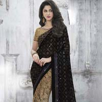 Multicolor  Embroidered Net & Faux Satin Chiffon Party Wear Saree