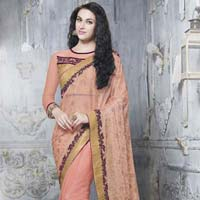 Peach Color Lycra Shimmer & Net Embroidered Party Wear Saree