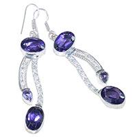 Amethyst Gemstone Silver Earrings