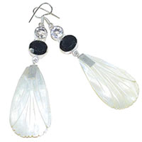White Quartz and Mother of Pearl Gemstone Earrings
