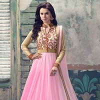 Semi Stitched Pink Villa Suits