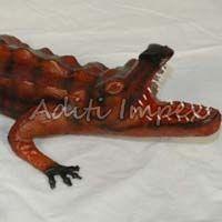 Handicraft Leather Alligator Sculpture