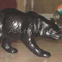 Handicraft Leather Bear Sculpture