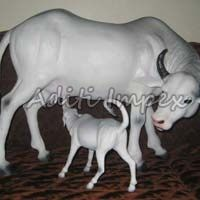 Handicraft Leather Cow with Calf Sculpture