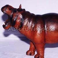 Handicraft Leather Hippo Sculpture