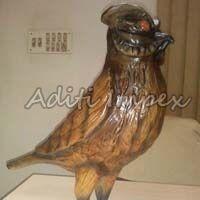 Handicraft Leather Owl Sculpture