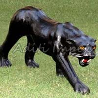 Handicraft Leather Panther Sculpture