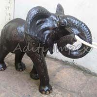 Handicraft Leather Wild Elephant Sculpture