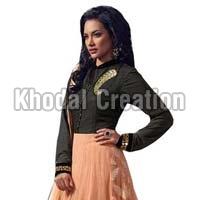 Elite Black Colored  Net Readymade Anarkali Suit