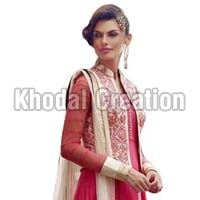 Pinkcolored Embroidered  Anarkali Suit