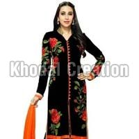 Wonderful Black Colored Embroidered Straight Suit