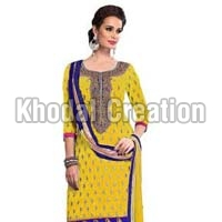 Yellow Colored Straight Embroidered Salwar Suit