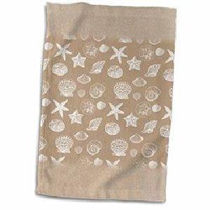 Light Brown Printed Hand Towels