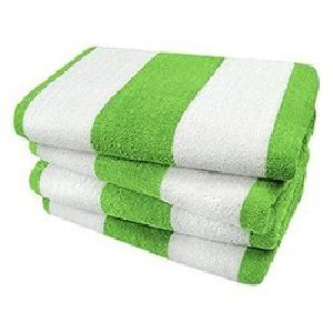 Green And White Bold Striped Pool Towels