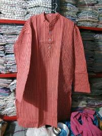 Mens Khadi Cotton Stripped Long Kurta