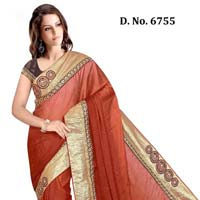 Designer Brawn Crape Silk Party Wear Saree
