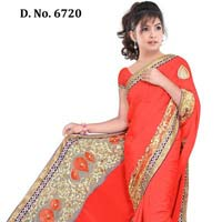 Designer Orange Nett Handwork Saree