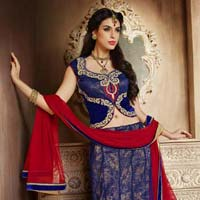 Neavy Blue And Red Designer Wedding Lehenga With Heavy Jal Work